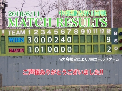 【大会結果】2016年6月11日中部謙吉杯1回戦
