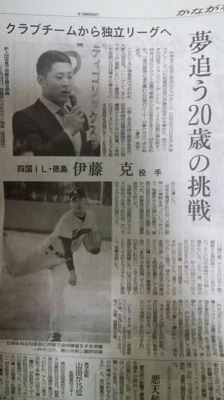 【メディア情報】四国アイランドリーグplus:徳島インディゴソックス入団の伊藤克投手情報(神奈川新聞)